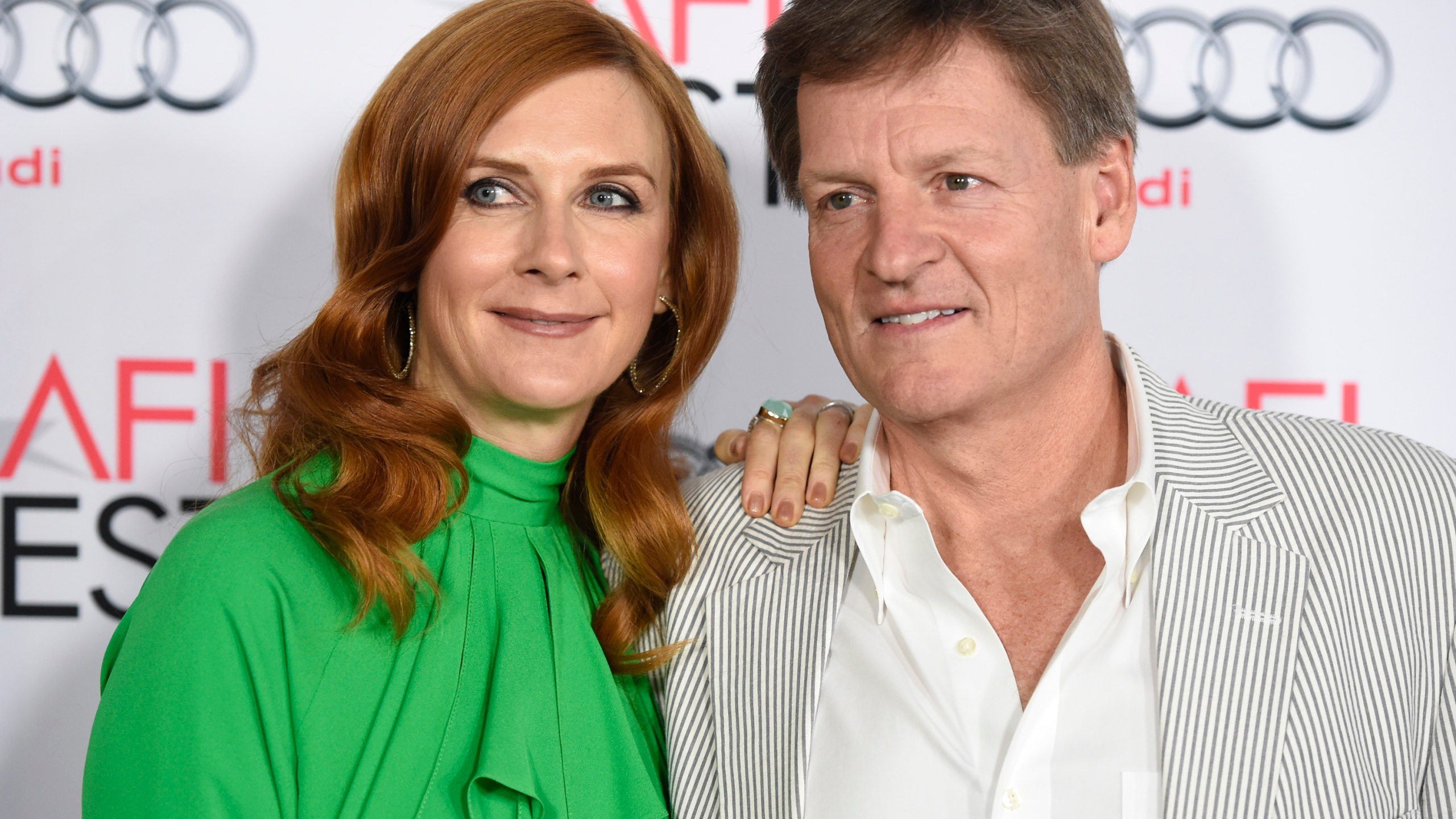 """In this Thursday, Nov. 12, 2015, file photo, Tabitha Soren, left, and Michael Lewis arrive at the world premiere of """"The Big Short"""" during the AFI Fest at the TCL Chinese Theatre, in Los Angeles. The 19-year-old daughter of """"Moneyball"""" author Lewis and former MTV correspondent Soren was killed in a Northern California highway crash, according to her family and authorities. Dixie Lewis was a passenger in a car driven by her friend and former Berkeley High School classmate, Ross Schultz, 20, who also died in the Tuesday afternoon, May 25, 2021, accident. (Photo by Chris Pizzello/Invision/AP, File)"""