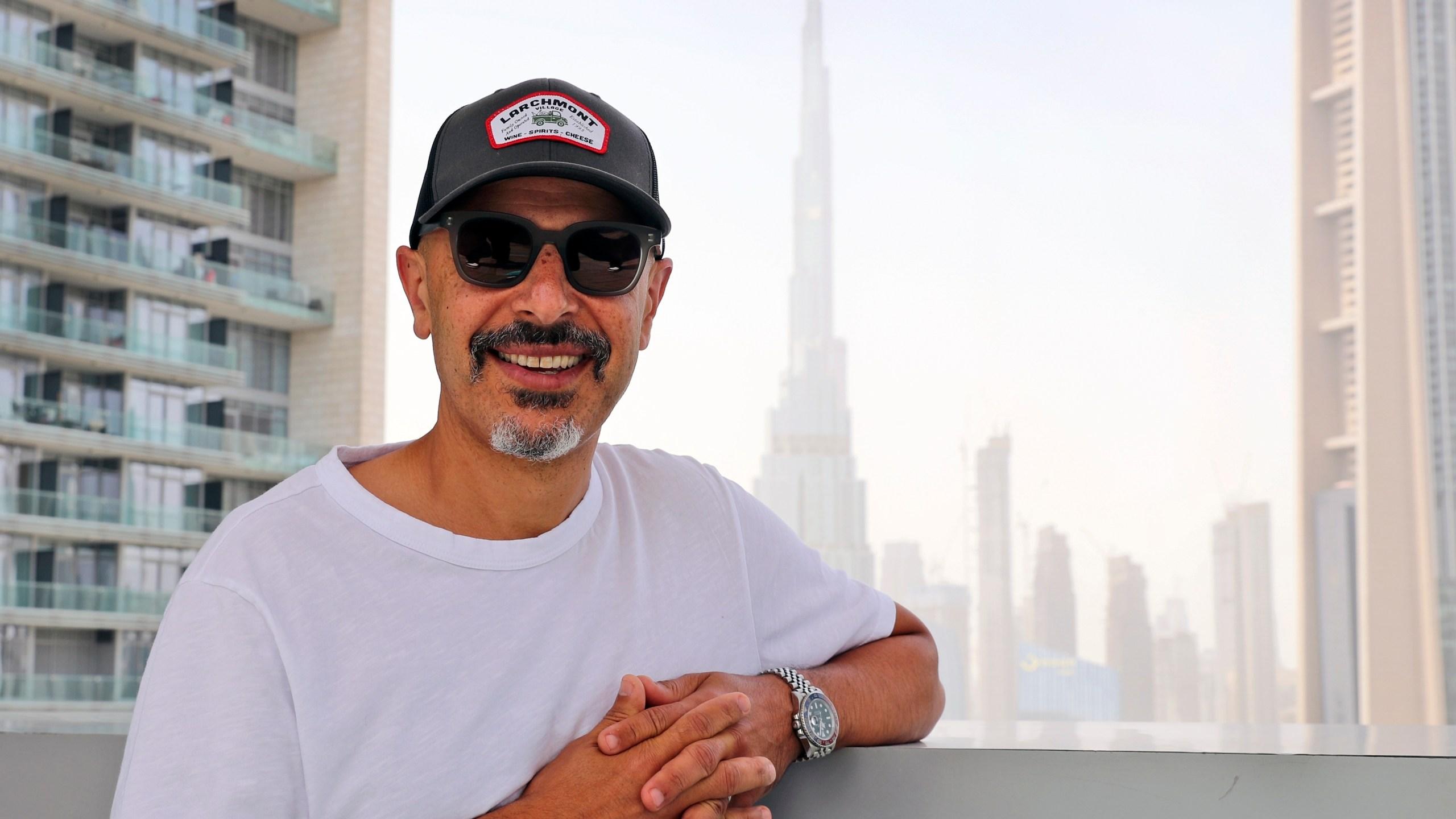 Stand-up comedian Maz Jobrani poses in Dubai, United Arab Emirates on May 25, 2021. (AP Photo/Kamran Jebreili)