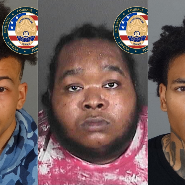 Khai McGhee, Marquise Anthony Gardon and Malik Lamont Powell are shown in photos released by the Beverly Hills Police Department on May 12, 2021.
