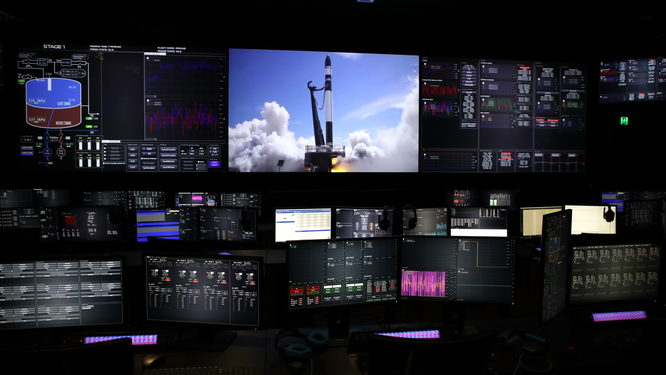 The Rocket Lab Mission Control room during the opening of the new Rocket Lab factory on October 12, 2018 in Auckland, New Zealand. (Phil Walter/Getty Images)