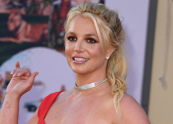 """US singer Britney Spears arrives for the premiere of Sony Pictures' """"Once Upon a Time... in Hollywood"""" at the TCL Chinese Theatre in Hollywood, California on July 22, 2019. (VALERIE MACON/AFP via Getty Images)"""