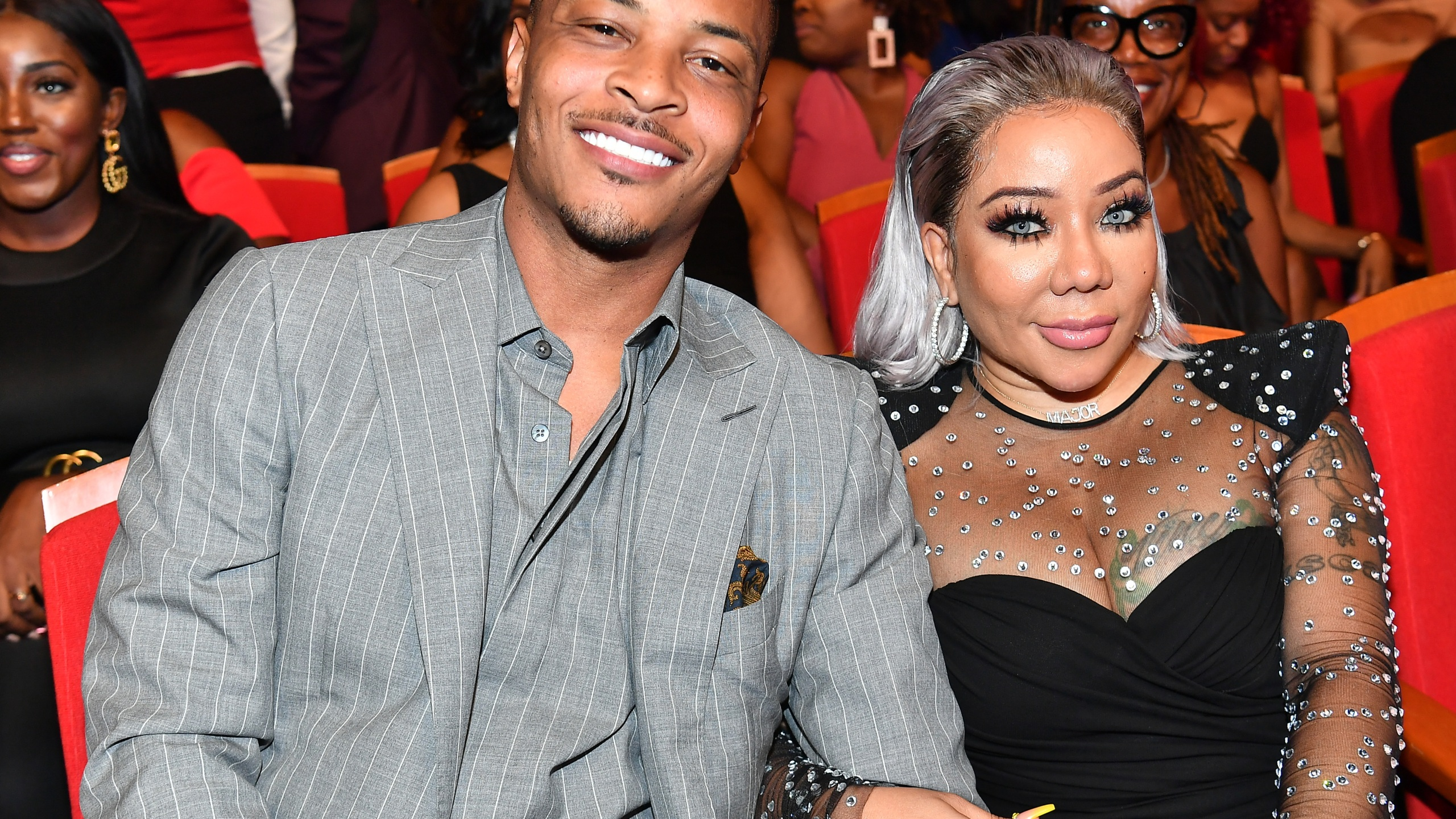 """T.I. and Tameka """"Tiny"""" Harris attend 2019 Black Music Honors at Cobb Energy Performing Arts Centre on Sept. 5, 2019, in Atlanta, Georgia. (Paras Griffin/Getty Images for Black Music Honors)"""