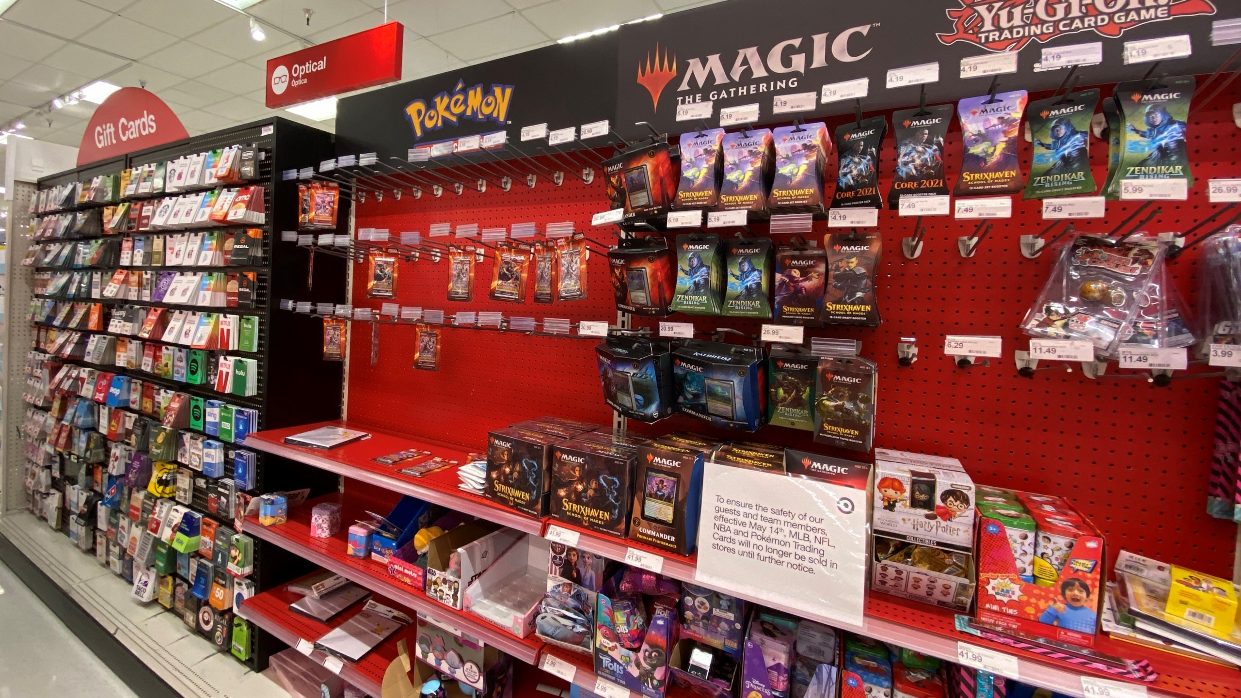 A sign warning customers that Pokemon trading cards will no longer be sold until further notice is displayed at a local Target store in Los Angeles, California on May 14, 2021. (Chris Delmas/AFP via Getty Images)