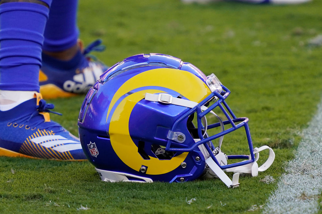 A Los Angeles Rams helmet is shown against the San Francisco 49ers at Levi's Stadium on October 18, 2020 in Santa Clara, California. (Thearon W. Henderson/Getty Images)