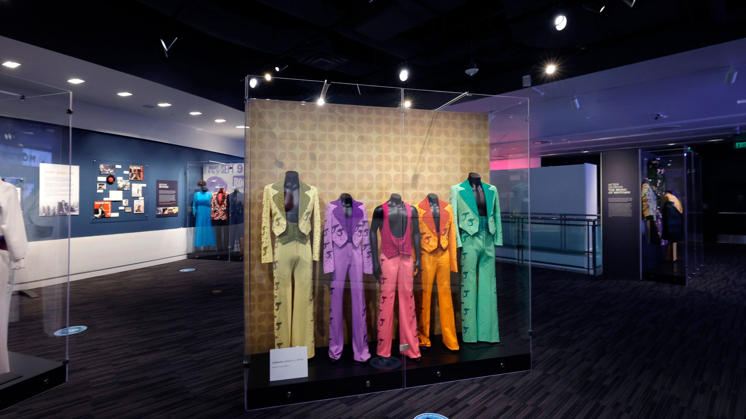 The Jackson 5 outfits are displayed during the GRAMMY Museum Reopening Press Preview Day at The GRAMMY Museum on May 12, 2021 in Los Angeles. (Frazer Harrison/Getty Images)