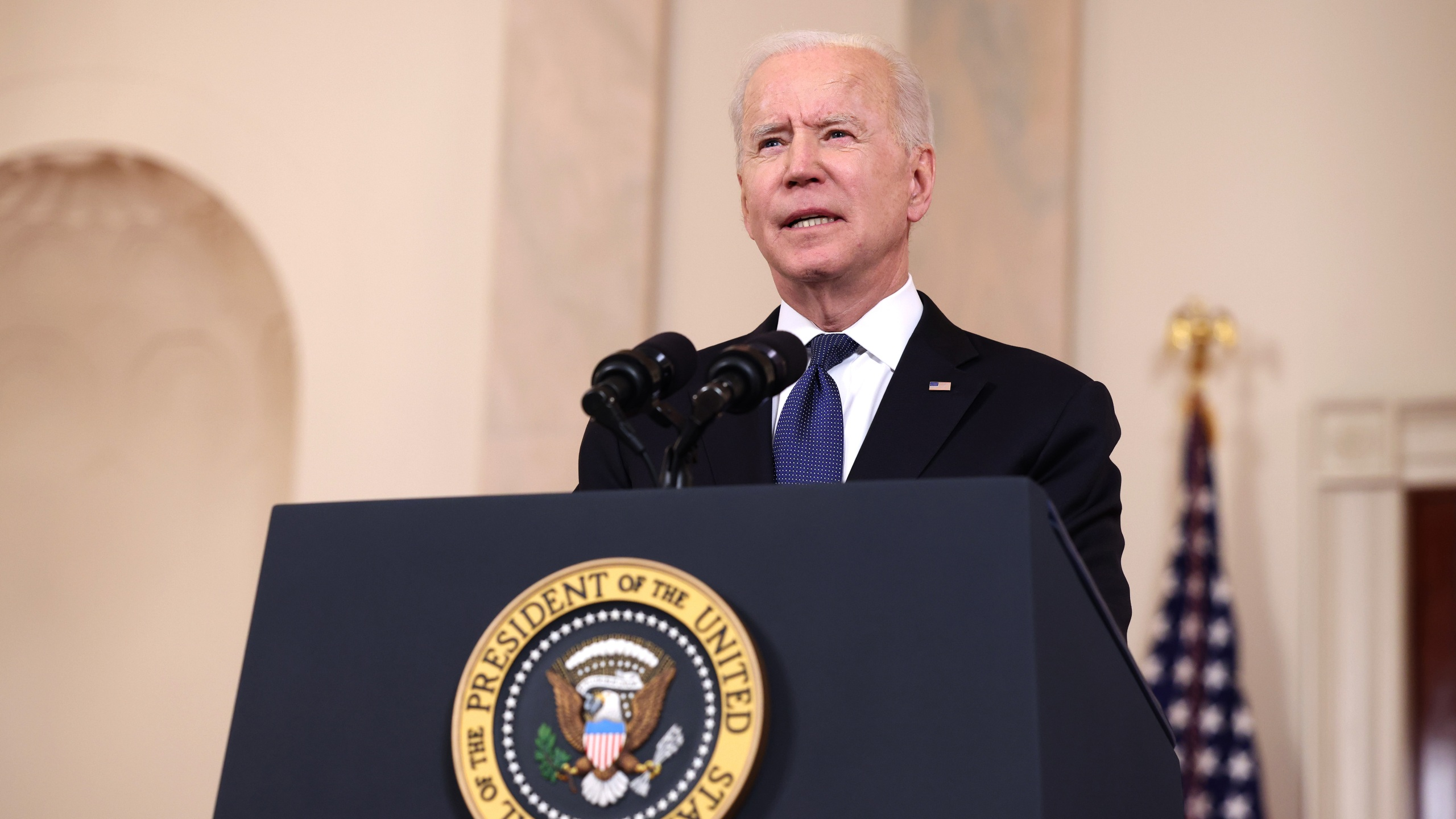 U.S. President Joe Biden delivers remarks on the conflict in the Middle East from the White House on May 20, 2021 in Washington, D.C. Israel and Hamas announced that they would agree to a cease-fire, which will take into effect on Friday, following days of fighting that claimed more than 200 lives. (Anna Moneymaker/Getty Images)
