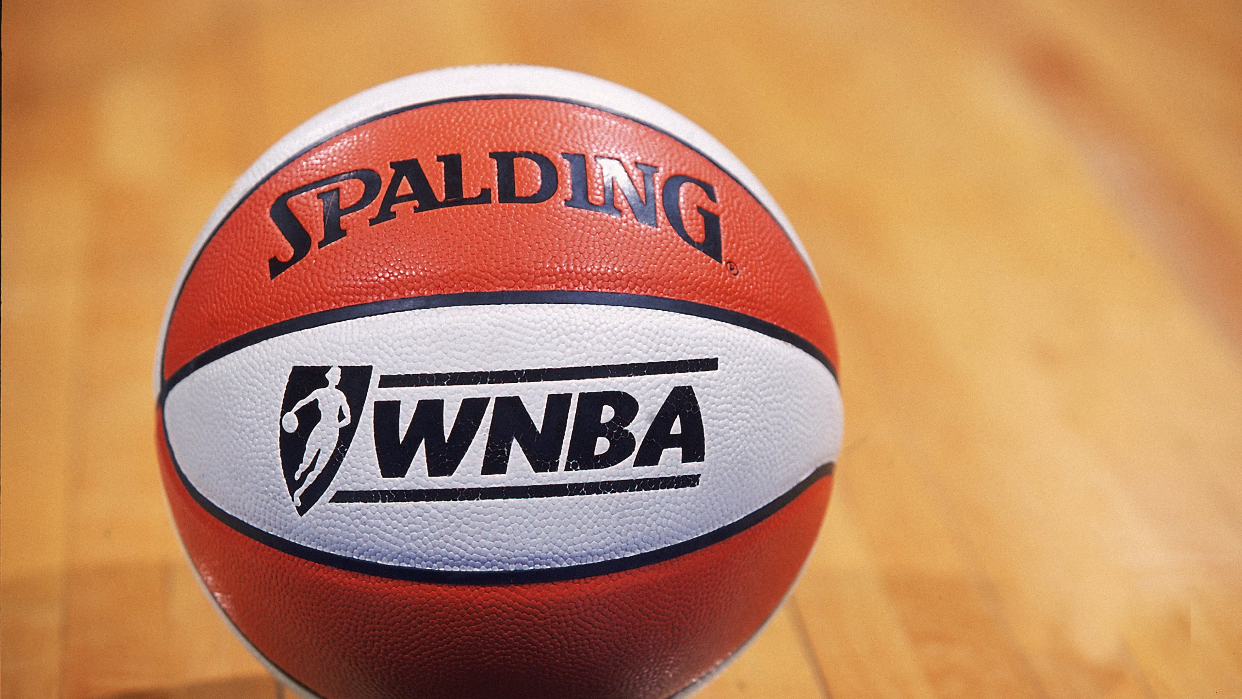 A shot of the WNBA basketball during the game between the Washington Mystics and the Sacramento Monarchs at the MCI Center in Washington, D.C. (Doug Pensinger / Allsport via AP)