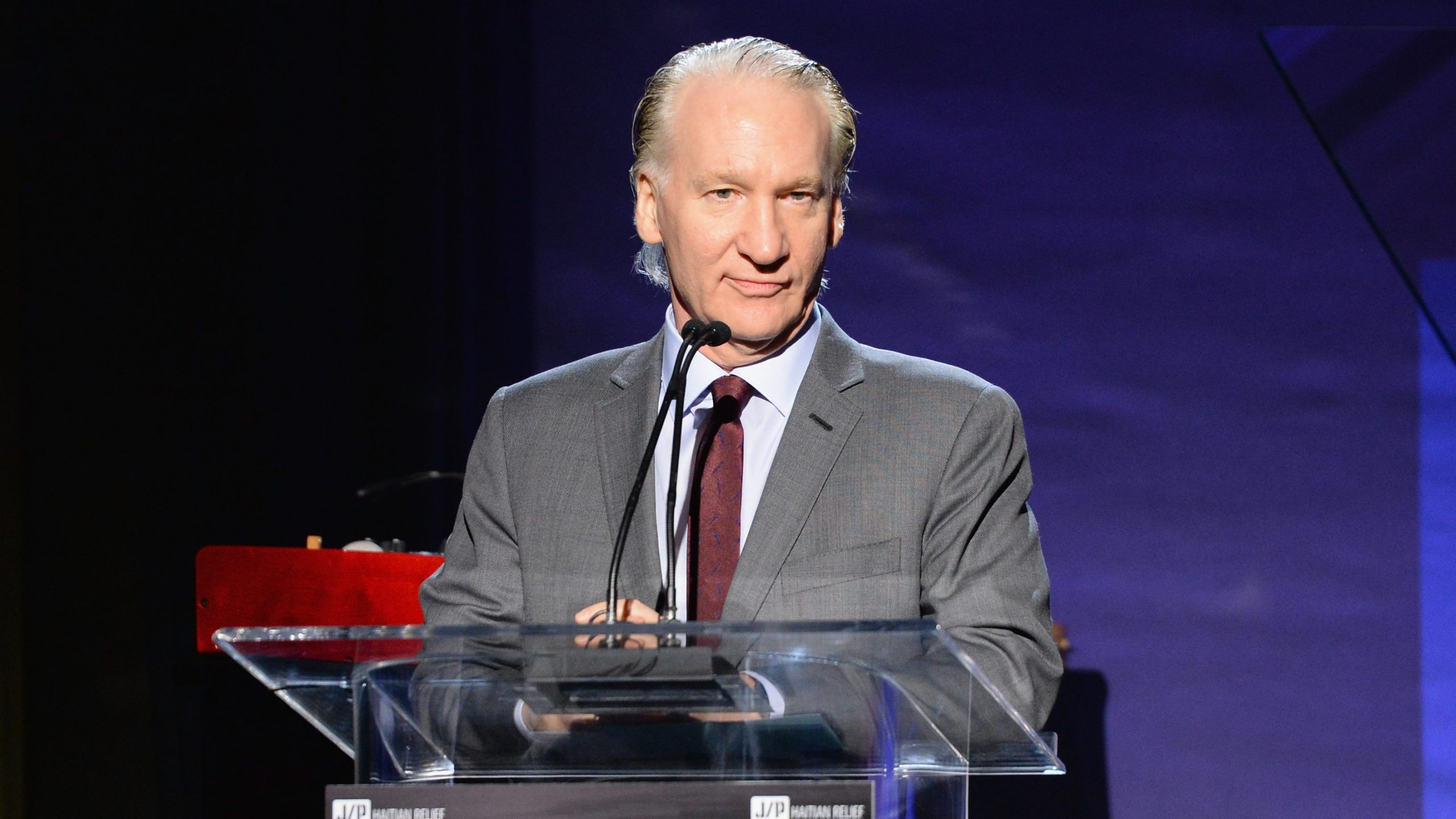 Master of ceremonies Bill Maher speaks onstage during the 6th Annual Sean Penn & Friends HAITI RISING Gala Benefiting J/P Haitian Relief Organization at Montage Hotel in Beverly Hills on Jan. 7, 2017. (Michael Kovac / Getty Images)