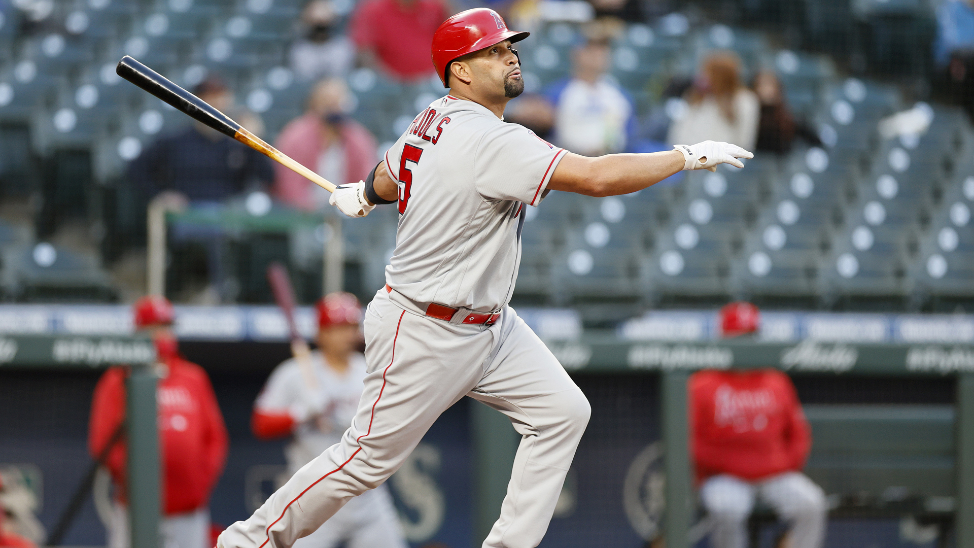 Albert Pujols bats against the Seattle Mariners in the second inning at T-Mobile Park on April 30, 2021 in Seattle. (Steph Chambers/Getty Images)