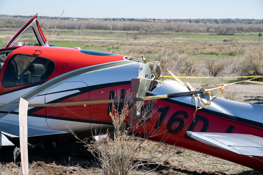 Responders photograph the scene where a plane parachute-landed after colliding with another aircraft over Cherry Creek State Park on May, 12, 2021. (South Metro Fire Rescue)