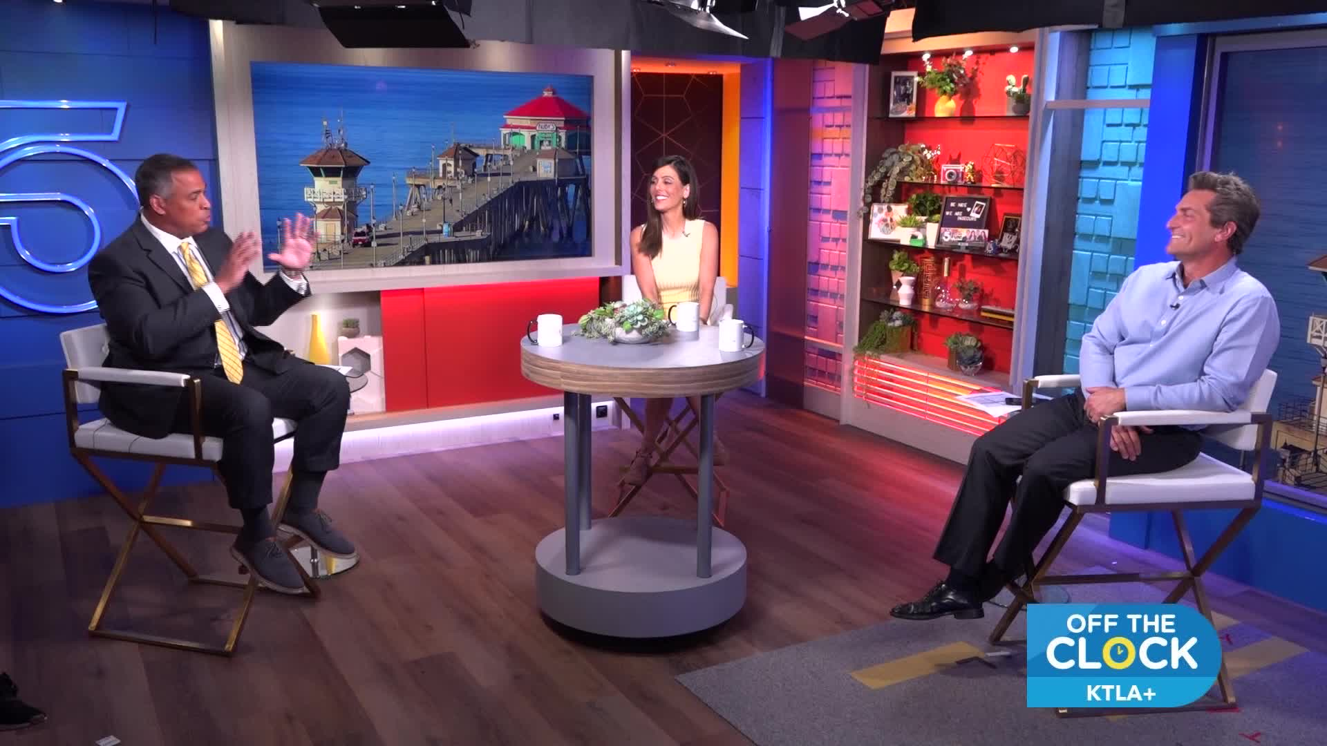 Chris Schauble, Megan Henderson and Henry DiCarlo appear in an episode of Off the Clock. (credit: KTLA)