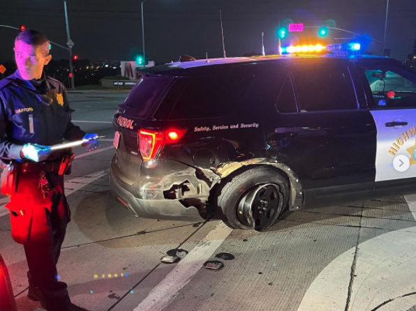 A CHP vehicle damaged in a crash on May 13, 2021 is shown in a photo shared by the agency on May 17, 2021.