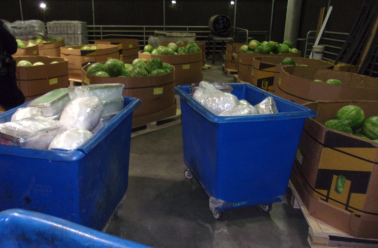 U.S. Customs and Border Protection on May 21, 2021, shared this image of a shipment of watermelons found to contain meth at the Otay Mesa Commercial Facility .