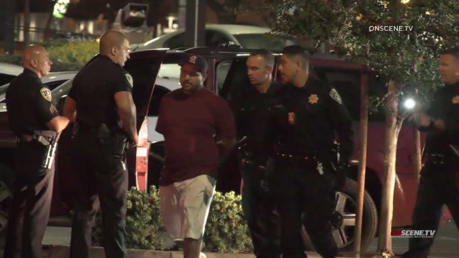 A man is taken into custody in connection with a series of shootings on the 91 Freeway on May 25, 2021. (Onscene.TV)