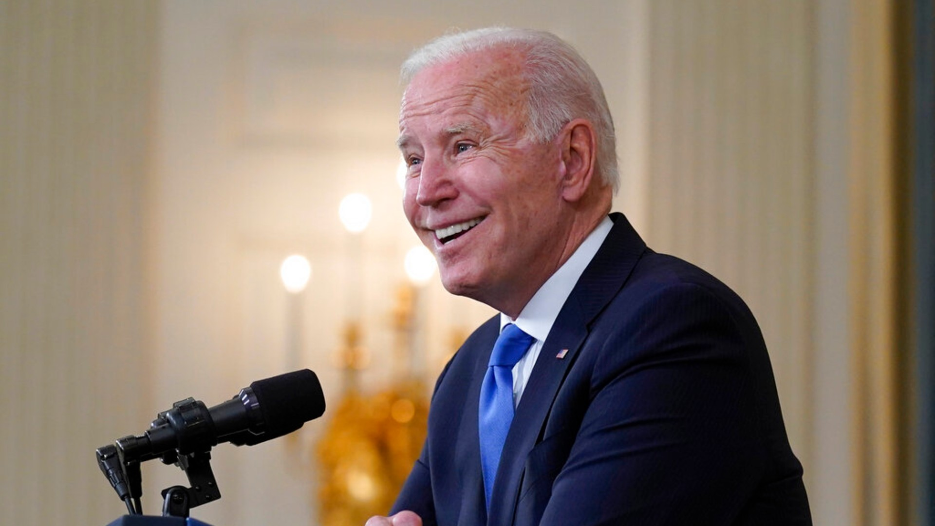 In this May 5, 2021, file photo President Joe Biden takes questions from reporters as he speaks about the American Rescue Plan, in the State Dining Room of the White House in Washington. (AP Photo/Evan Vucci, File)
