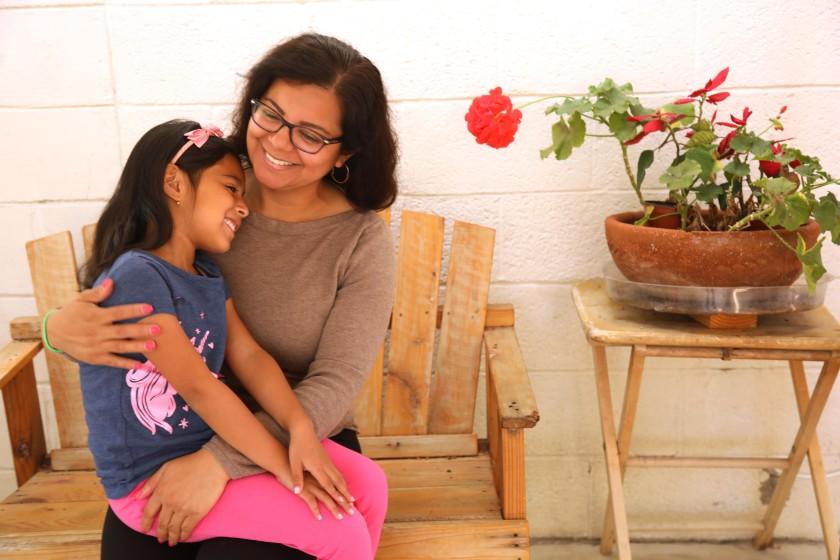 DACA recipient Miriam Delgado and her daughter Aleha Esquivel, 7, at their home in Whittier.(Genaro Molina / Los Angeles Times)