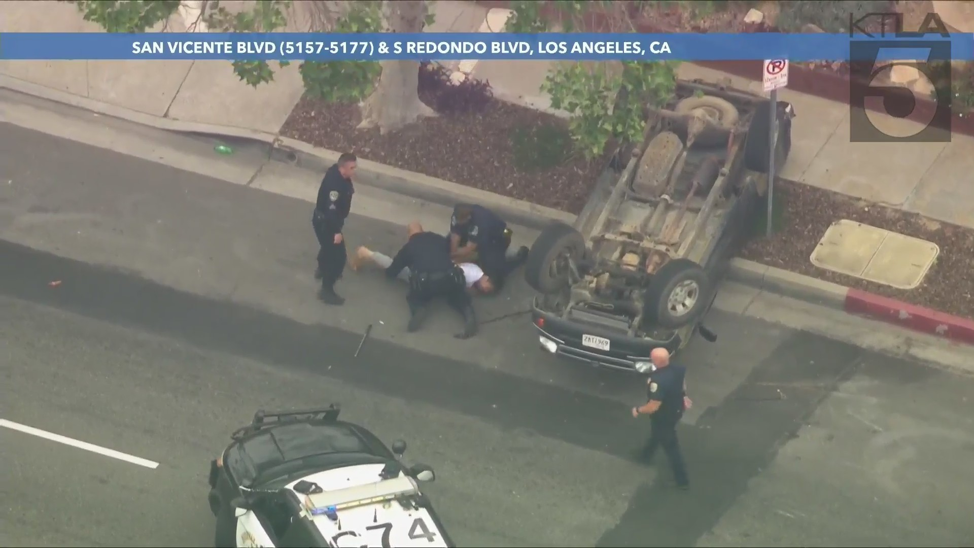 A driver was taken into custody following a pursuit through the South Los Angeles area on May 13, 2021. (KTLA)