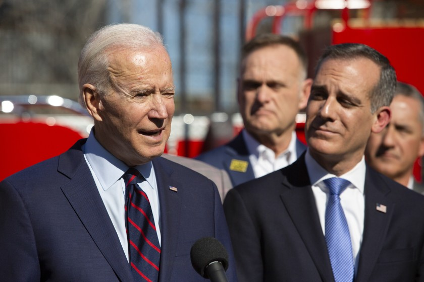 Mayor Eric Garcetti, right, is being considered for an ambassador post in President Biden's administration. (Gabriella Angotti-Jones / Los Angeles Times)