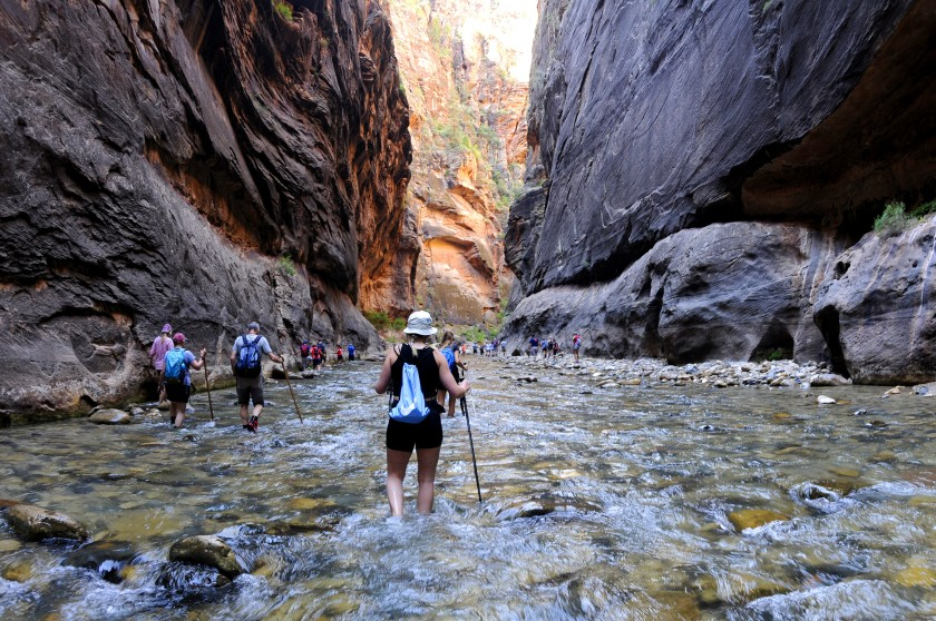 The Virgin River snakes through the Narrows in Zion National Park. The park is expected to be one of the most popular destinations among Southern Californians this Memorial Day weekend. (Marc Martin / Los Angeles Times)