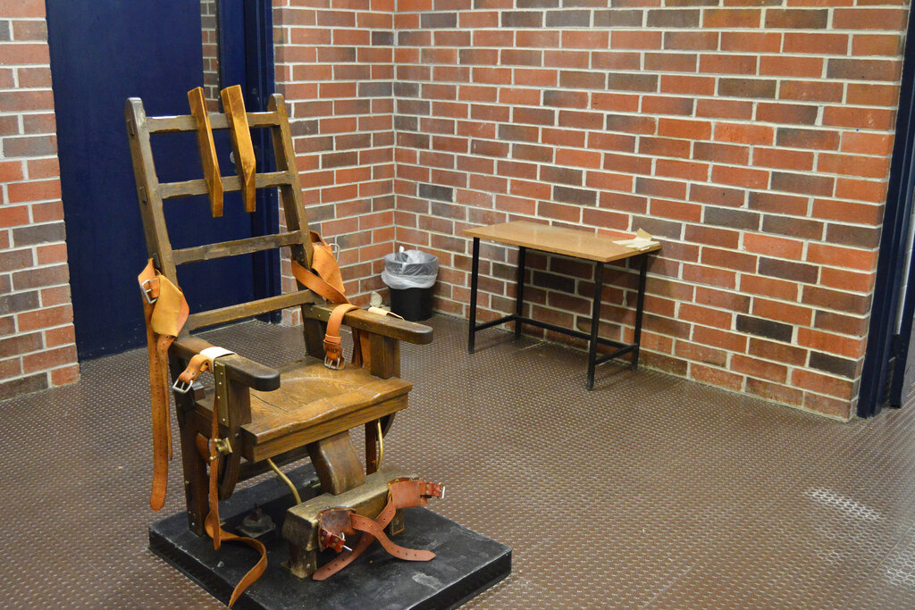 This 2019 file photo, provided by the South Carolina Department of Corrections shows the state's electric chair in Columbia, S.C. South Carolina. (Kinard Lisbon/South Carolina Department of Corrections via AP, File)