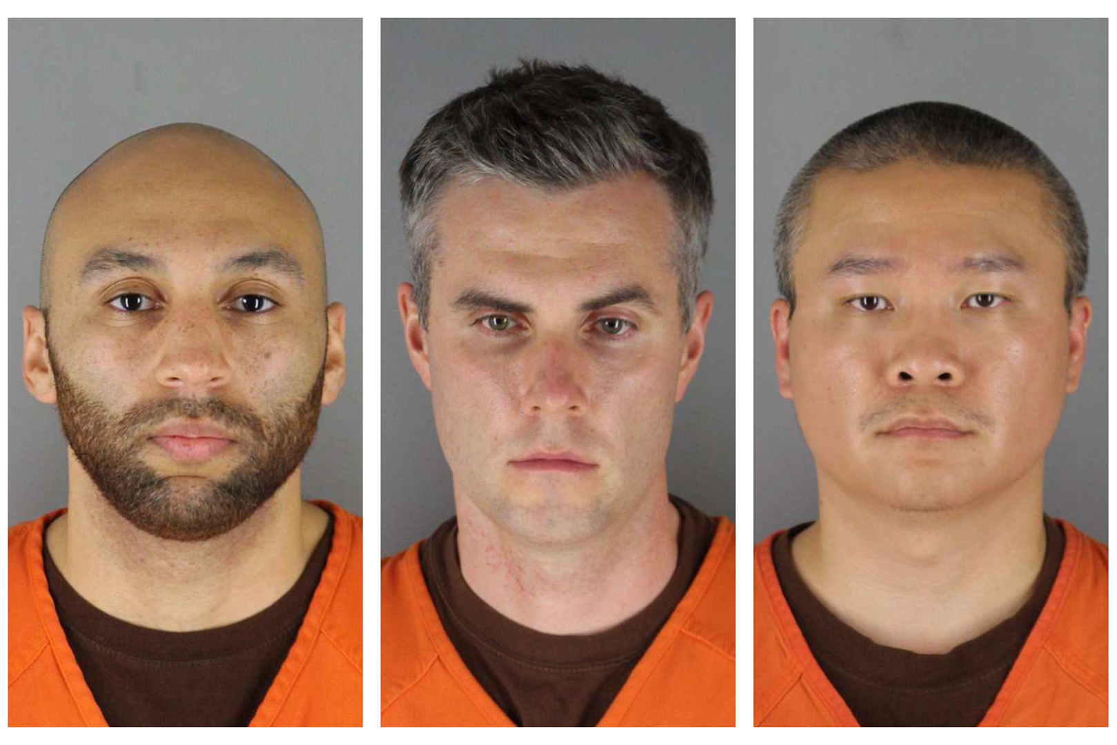 This combination of photos provided by the Hennepin County Sheriff's Office in Minnesota on June 3, 2020, shows ex-Minneapolis police officers from left, J. Alexander Kueng, Thomas Lane and Tou Thao. (Hennepin County Sheriff's Office via AP)