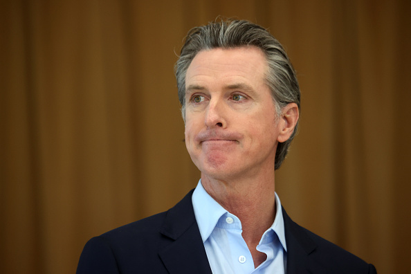 Gov. Gavin Newsom looks on during a news conference after he toured the newly reopened Ruby Bridges Elementary School on March 16, 2021 in Alameda. (Justin Sullivan/Getty Images)