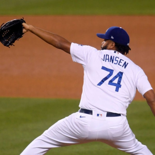 Kenley Jansen #74 of the Los Angeles Dodgers pitches in relief during the eighth inning against the San Diego Padres at Dodger Stadium on April 24, 2021 in Los Angeles, California. (Harry How/Getty Images)