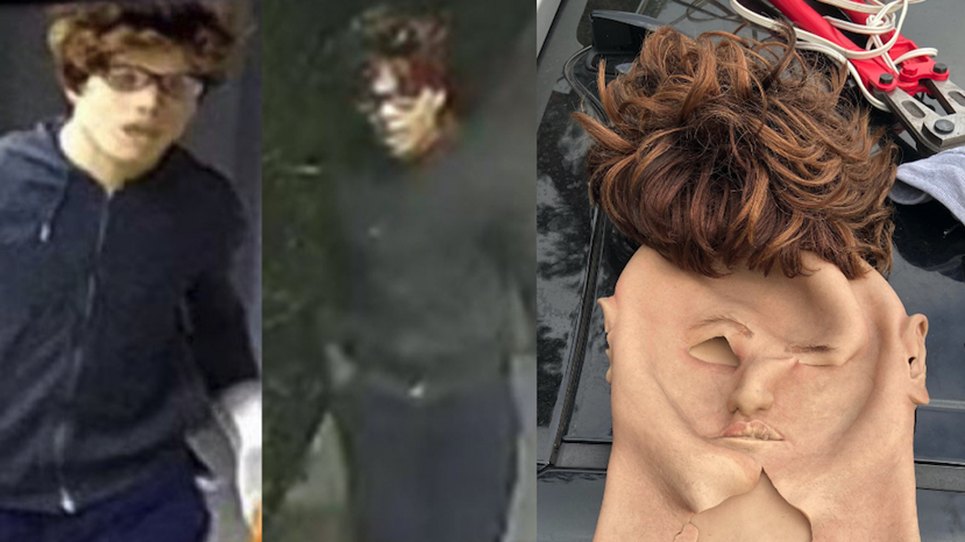 Photos of a man believed to have burglarized several homes while wearing a life-like mask is seen in photos released by the Beverly Hills Police Department on May 7, 2021.