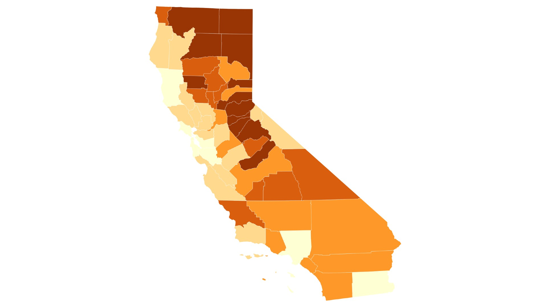 The map shows the percentage of registered voters who signed the recall for Gov. Gavin Newsom in each California county. Darker areas had the highest participation among voters in the recall petition.