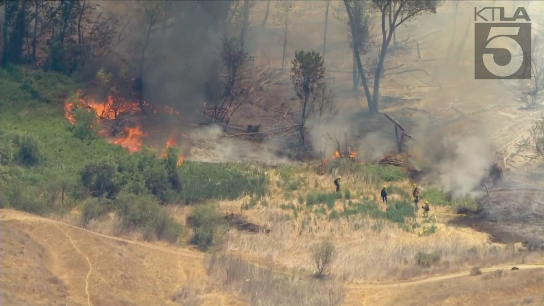 The Lake Fire in Jurupa Valley promoted evacuations on May 24, 2021. (KTLA)