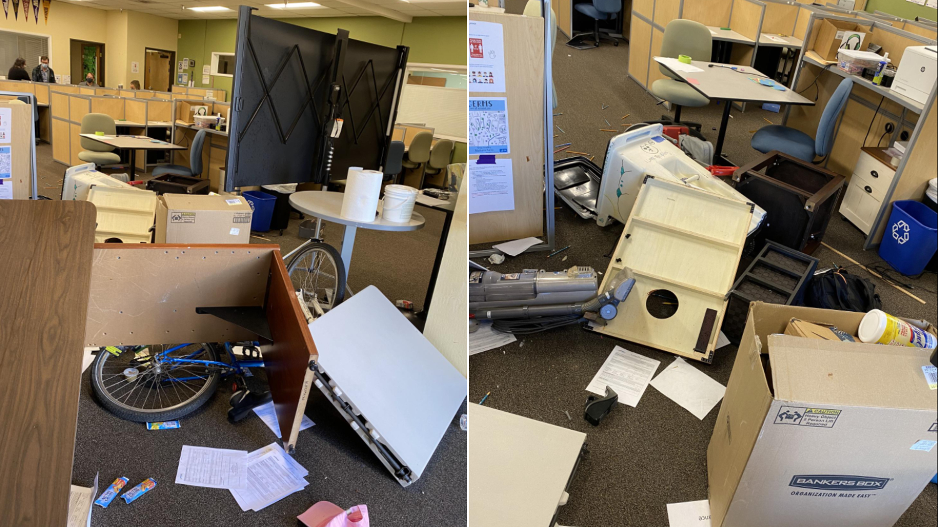 Destruction left by a woman who allegedly ran inside a Santa Rosa classroom and assaulted three people on May 19, 2021, in photos released by the Santa Rosa Police Department.