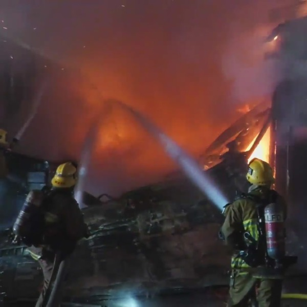 Firefighters respond to a blaze in South Los Angeles on May 3, 2021. (LLN)