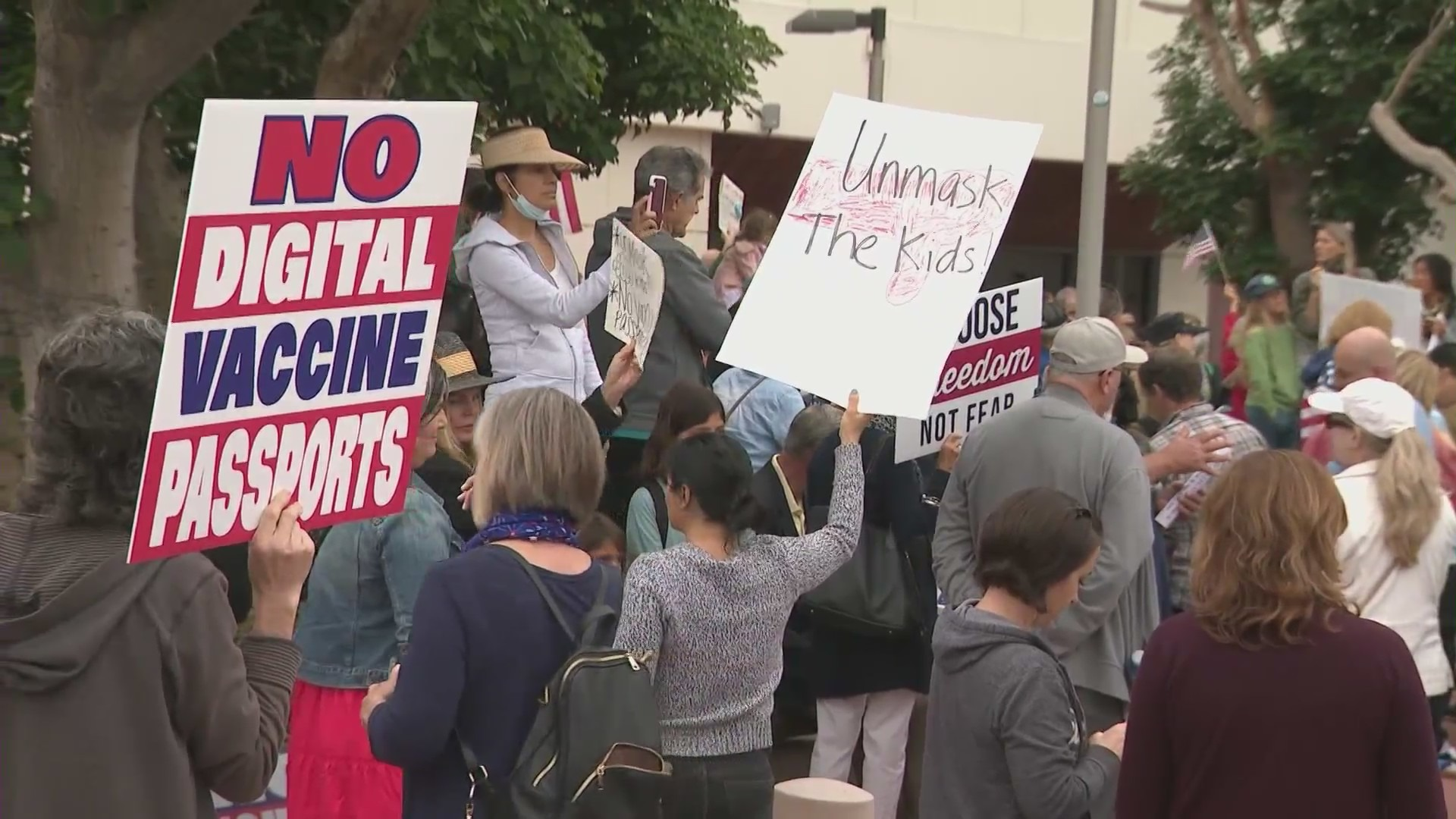 A group protests against digital vaccine records in Orange Coounty on May 11, 2021. (KTLA)