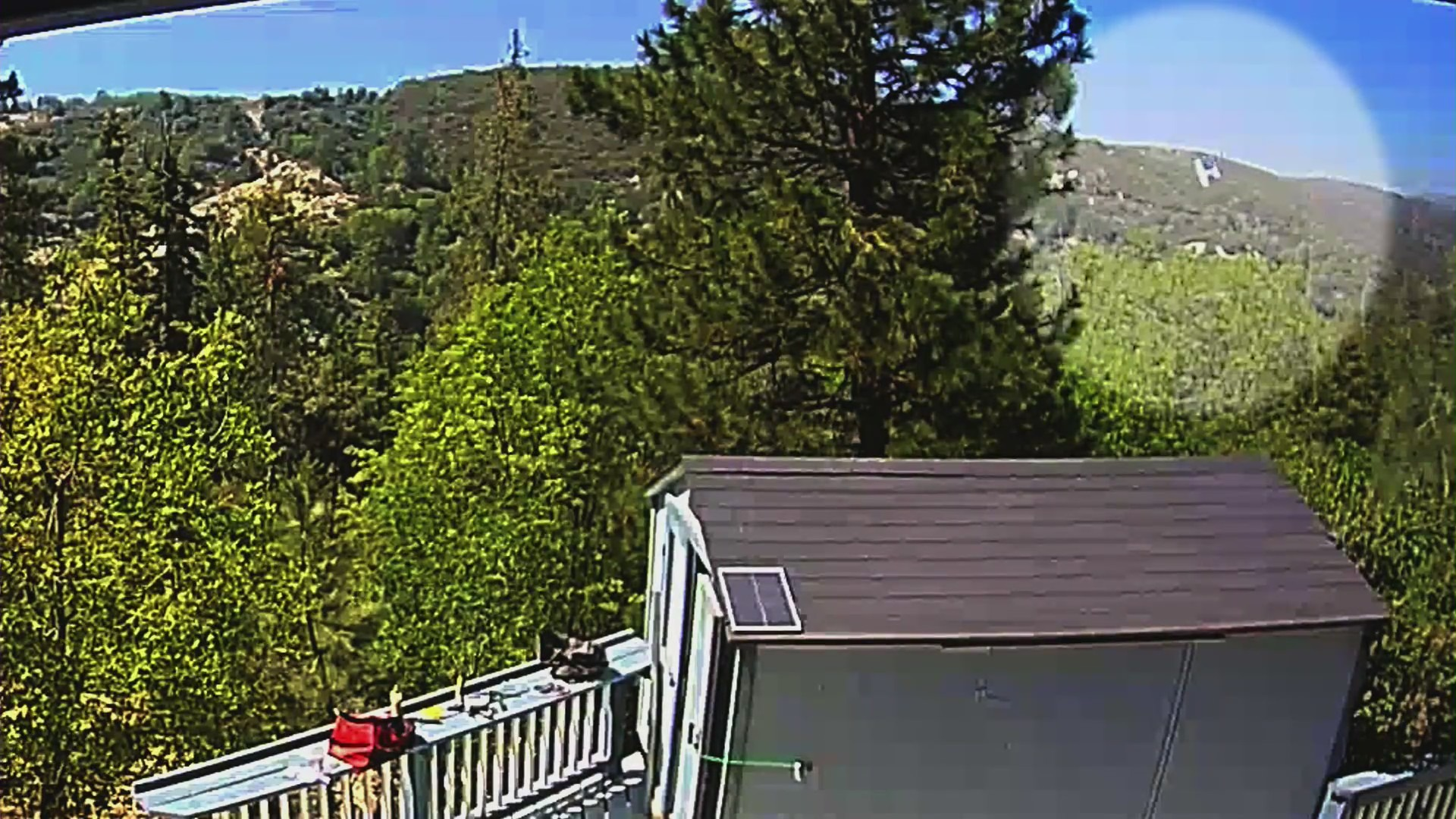 Ring doorbell video shows a small plane descending near Lake Arrowhead on May 15, 2021. (Jeff Eade)