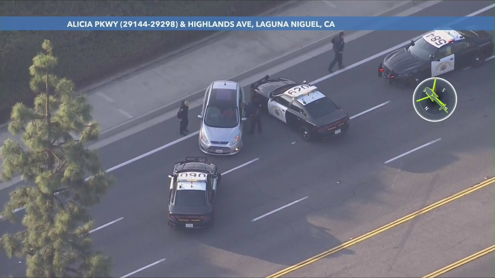 A pursuit comes to a stop in Laguna Niguel on May 3, 2021. (KTLA)