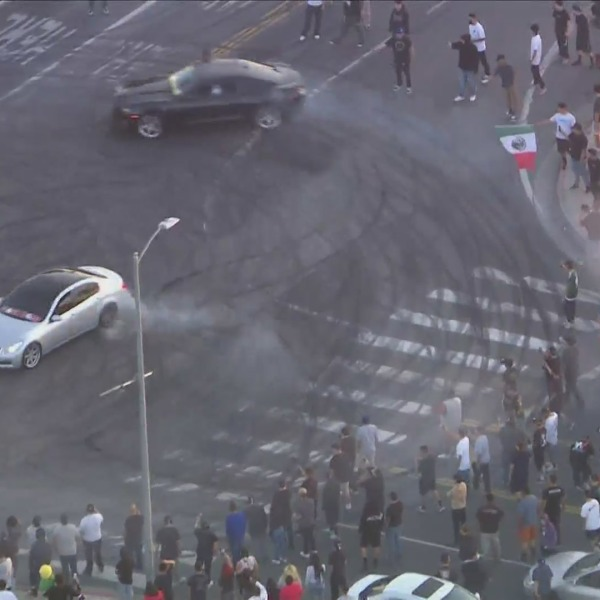 This file photo shows a street takeover in the L.A. area.