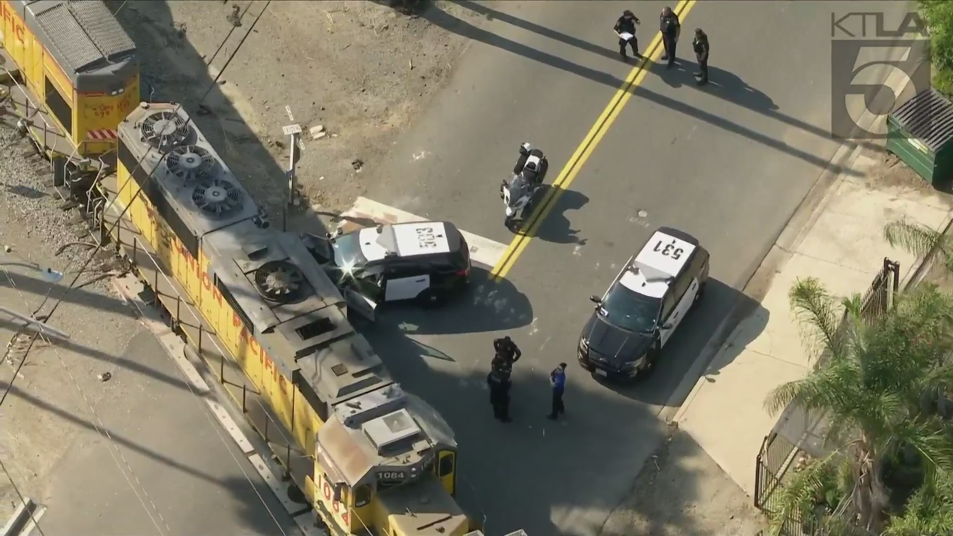 A Chino officer was responding to a traffic collision on May 18, 2021, when the police vehicle collided with a passing train. (KTLA)