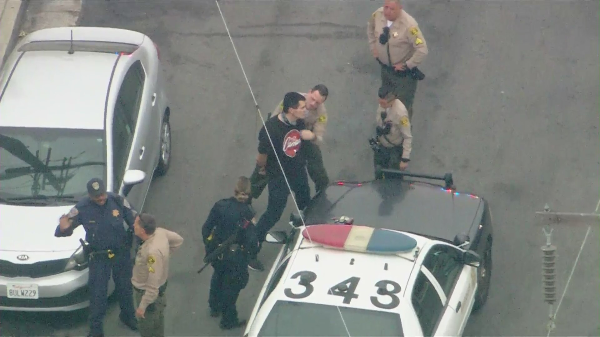 One person was taken into custody when a pursuit came to an end in Bellflower on May 11, 2021. (KTLA)