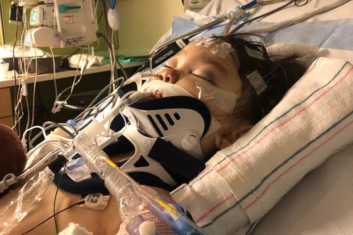 Nova Kolodny-Nagy, 4, receives treatment at a hospital after sustaining injuries to her head and body in a sledding incident with her parents on Feb. 4, 2021. Her mother, Lisa Mao, died shortly after the accident. (Courtesy of the Kolodny-Nagy family)