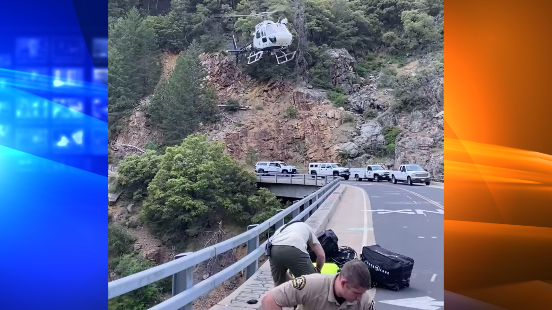 A rescue operation in the Sierra Nevada is seen in a screengrab from video released by the Tuolumne County Sheriff's Office on May 14, 2021.