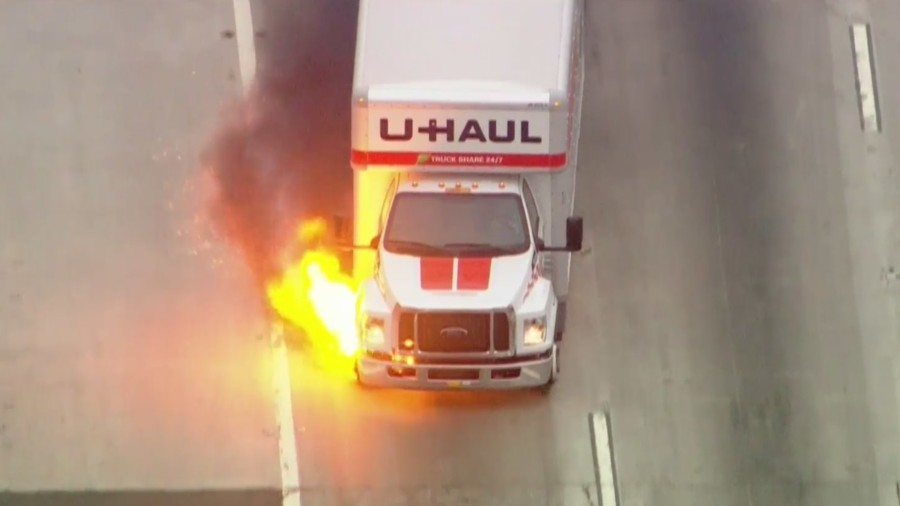 A U-Haul truck catches fire while being pursued by authorities in Bellflower on May 11, 2021. (KTLA)