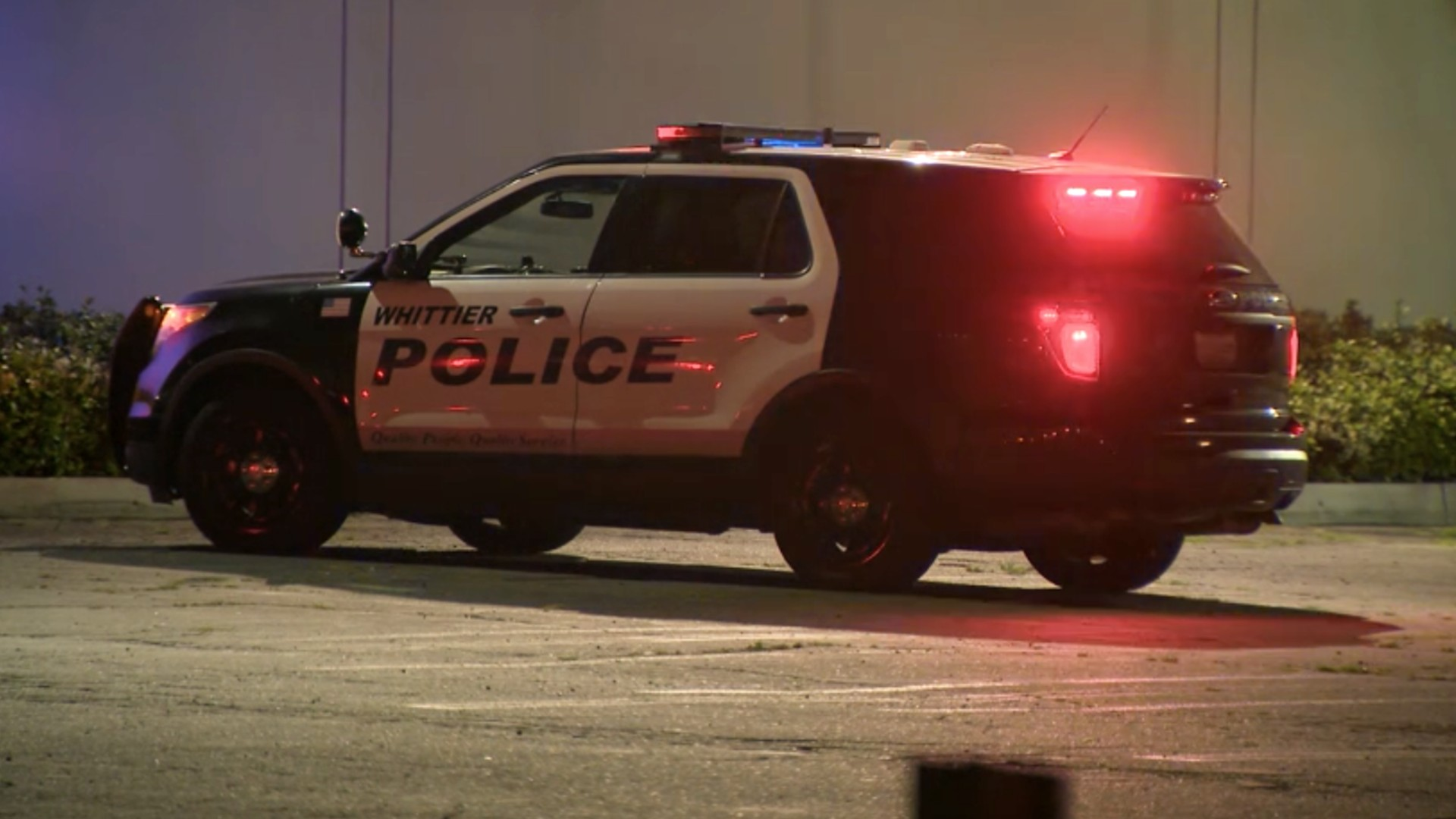 Police investigate a fatal shooting in Whittier on May 20, 2021. (KTLA)