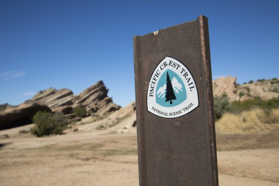 A sign at the Pacific Crest Trail in Anza is seen in an undated photo. (Myung J. Chun / Los Angeles Times)