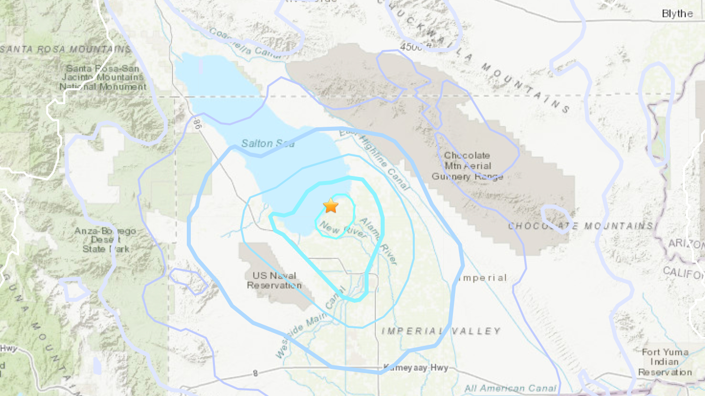 A magnitude 4.1 earthquake that struck along the southern tip of the Salton Sea on June 7, 2021, is seen in a map provided by the U.S. Geological Survey.