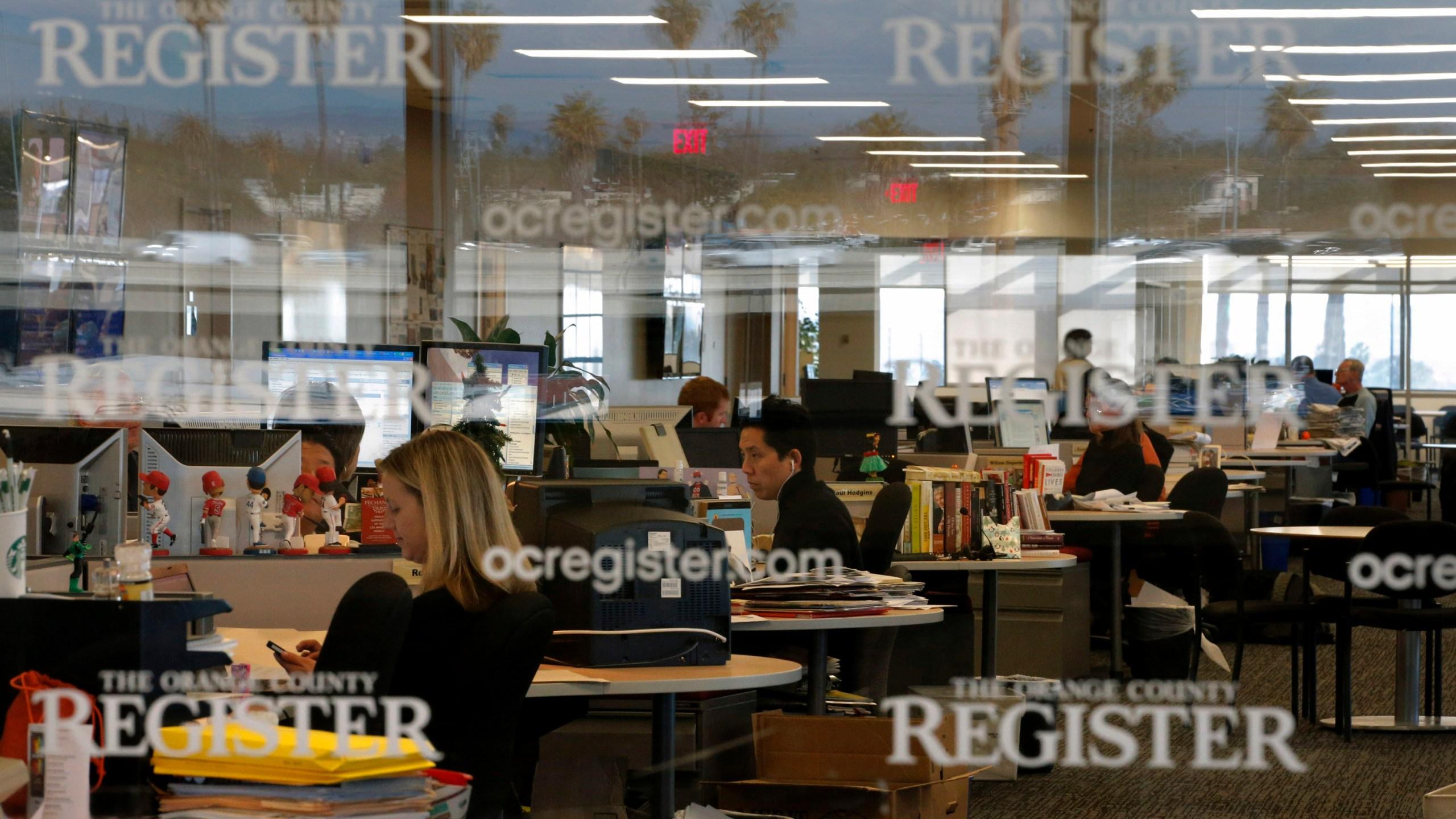 This Dec. 27, 2012 file photo shows the newsroom of the Orange County Register in Santa Ana, Calif. (AP Photo/Jae C. Hong, File)