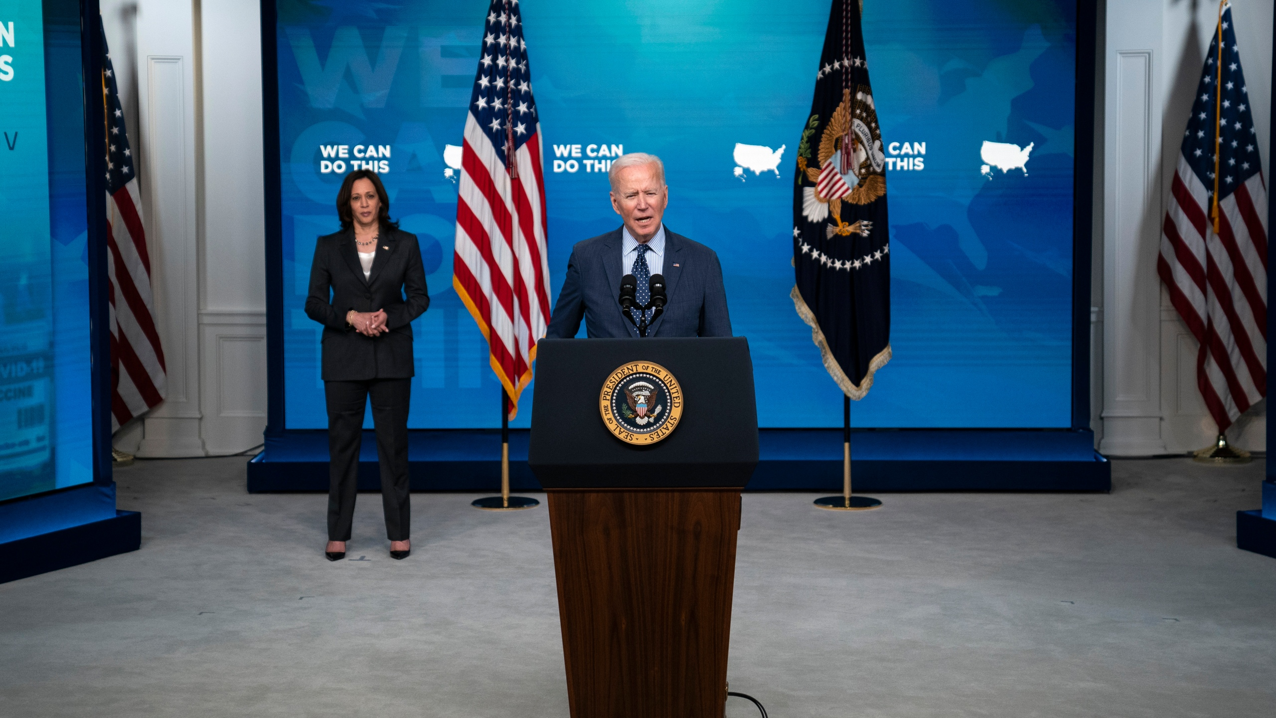Vice President Kamala Harris listens as President Joe Biden speaks about the COVID-19 vaccination program, in the South Court Auditorium at the White House on June 2, 2021. (Evan Vucci/Associated Press)