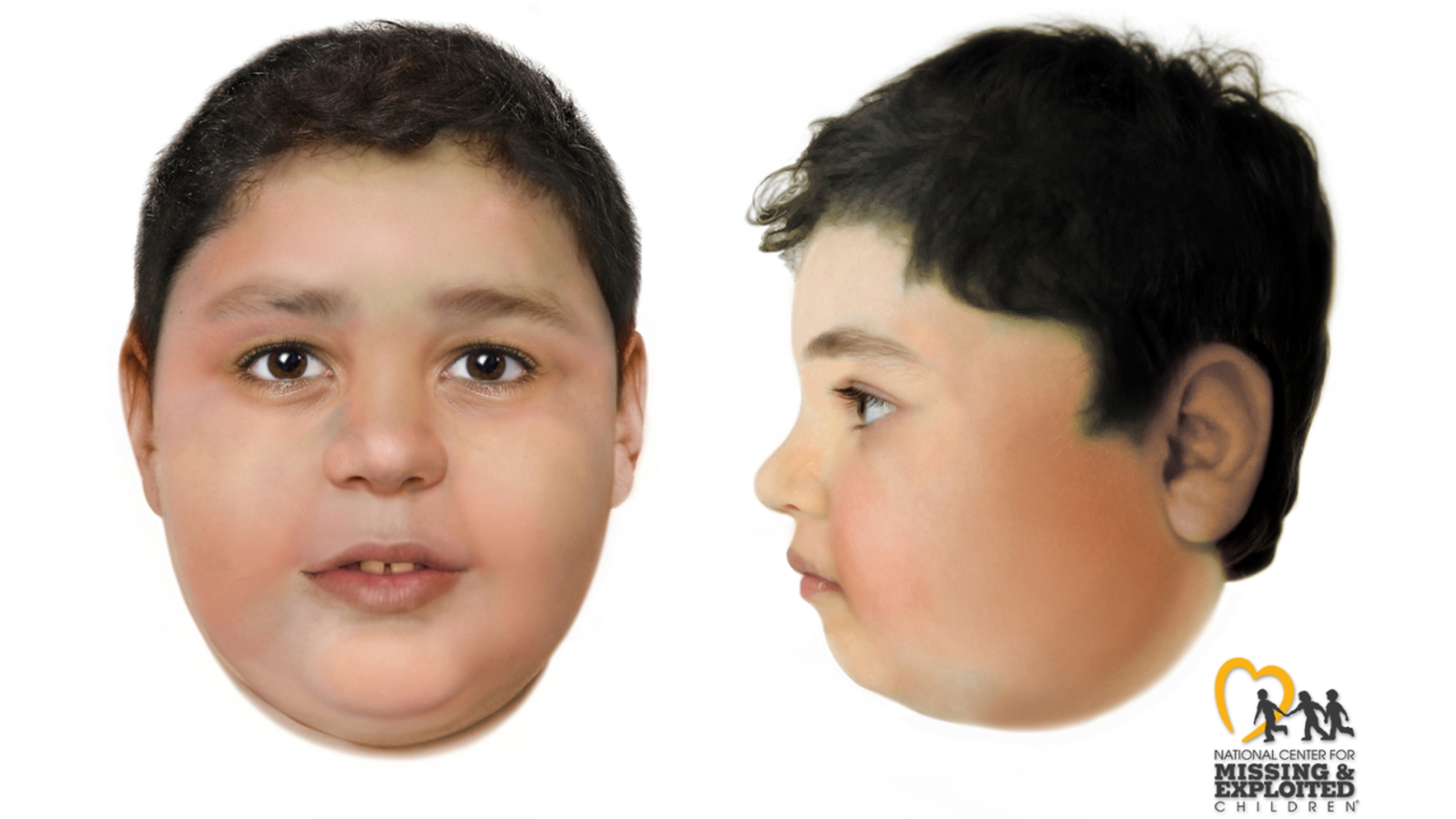 These artist's renderings created by the National Center for Missing and Exploited Children and distributed on June 3, 2021, by the FBI and Las Vegas Metropolitan Police Department depict a slain boy believed to be between the ages of 8 and 10 whose body was found on May 28, 2021, off a hiking trail between Las Vegas and rural Pahrump, Nev. Authorities offered a $10,000 reward to identify the child. (Las Vegas Metropolitan Police Department via AP)