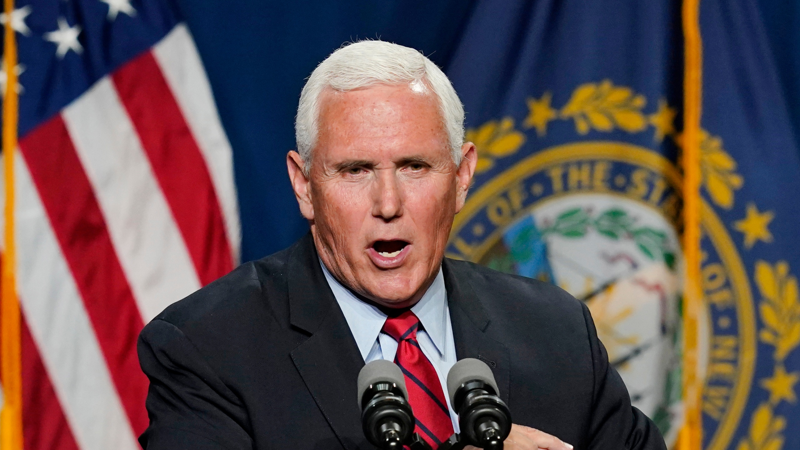 Former Vice President Mike Pence speaks at the annual Hillsborough County NH GOP Lincoln-Reagan Dinner on June 3, 2021, in Manchester, N.H. (Elise Amendola / Associated Press)