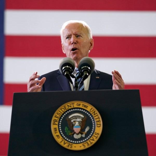President Joe Biden speaks to American service members at RAF Mildenhall in Suffolk, England, Wednesday, June 9, 2021. (AP Photo/Patrick Semansky)