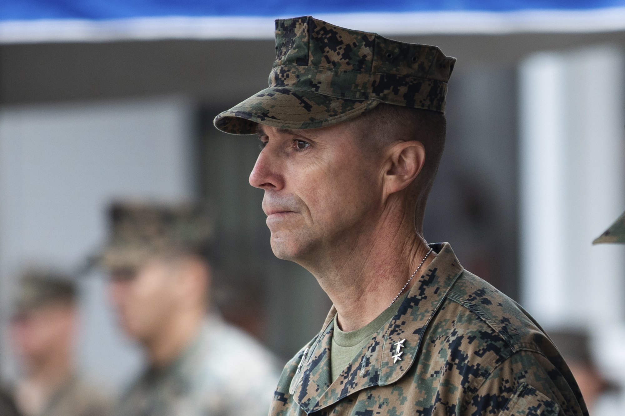 In this Sept. 11, 2020 photo provided by the U.S. Marine Corps, U.S. Marine Maj. Gen. Robert F. Castellvi is shown during a ceremony at Marine Corps Base Camp Pendleton in California. Officials announced Wednesday, June 9, 2021 that Castellvi will be relieved of his duties for failing to properly train Marines and sailors and evaluate the platoon before a training exercise in the summer of 2020 when a seafaring tank sank off the Southern California coast, killing nine troops. (Cpl. Jailine L. AliceaSantiago/U.S. Marine Corps via AP)